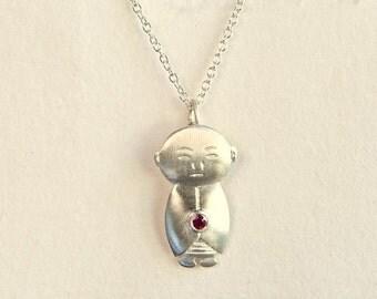 Ruby Jizo Pendant, Ruby Jizo Necklace, Ruby Buddha Jewelry, Buddhist Jewelry, Meditation Jewelry, Spiritual Necklace, Buddha Accessories