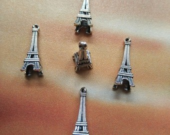 10 pcs 27mm 3D Eiffel Tower Charms - Paris Tower Charms, Antique Silver, Metal Charms, Metal Pendants, Alloy Charms