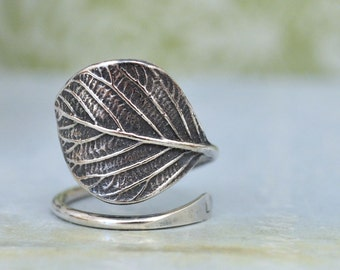 SILVER LEAF RING, hand made oxidized sterling silver ring adjustable, silver leaf ring, initial ring, wrap ring, personalized silver ring