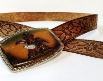 "Mens size 38"" brown tooled leather belt with Eagle Belt Buckle signed Alumaline 4108"
