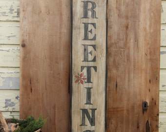Primitive Season's Greetings Wooden Sign