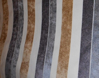 CHENILLE STRIPE silver charcoal grey tan upholstery fabric home decor