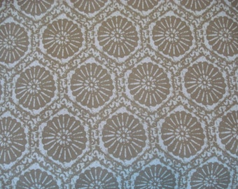SAND DOLLAR Tan White Geometric Contempary Cotton PRINT Upholstery Fabric,  35-24-02-0312