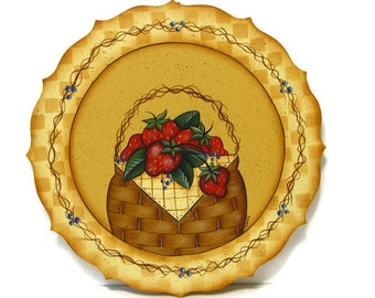 Basket of Strawberries Plaque, Handpainted Wood, Hand Painted Home Decor, Wall Art, Tole Decorative Painting