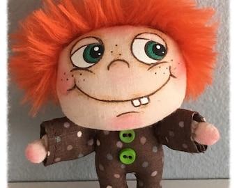 "OOAK Artist Miniature Cloth Pocket Rag Doll baby boy ""RUSTY"" only 3 1/2"" high!"