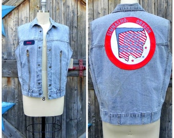 1980's denim vest, with large back patch