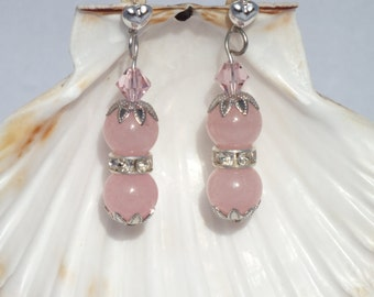 Silver, Swarovski Crystal And Rose Quartz Earrings With Rhinestone Spacers