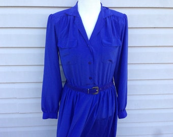 Belted Royal Blue Day Dress