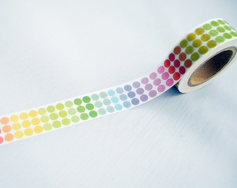10 Meter Roll of Washi Rainbow Spots Dots Bright 15mm DIY Diary Deco Journal