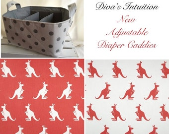 Diaper Caddy, baby caddy, baby organizer, diaper organizer, Kangaroo Fabric Basket bin with adjustable and removable dividers Coral
