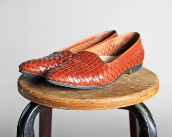 Vintage Woven Leather Flats- Brown Loafers Flat Pointed Slip On Women's Shoe Summer- Size 9