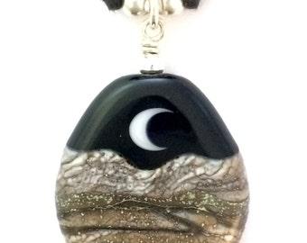 Golden Moonlight : Handmade Lampwork Desert Crescent & Full Moon Mountain Landscape Focal Bead Necklace