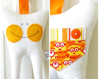 Tooth Fairy Pillow for a Boy or Girl (Minion)-READY TO SHIP