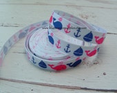 5 Yards 3/8 Inch Pink and Blue Whales Grosgrain Ribbon Scrapbooking Hair Bows