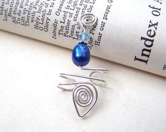 Sterling Silver Ear Cuffs Blue Pearl Ear Wrap Silver Ear Cuff Swarovski Crystal Body Jewerly