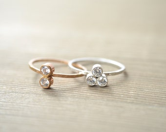 Personalized 3 ( Three ) Birthstone Stacking Ring - Sterling Silver or Gold Filled Ring