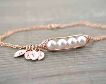 Mini / Tiny Personalized 4 Peas in a Pod Bracelet wrapped in Rose Gold Filled Wire - Choose your Initial and Pearl Color - Mother's Day