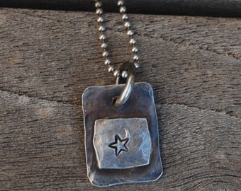 CREATE STERLING SILVER Stamped Pendant two layers of Oxidized Sterling with Darkened Ball Chain All Sterling