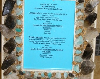 Picture Frame, Mother's day gift Handmade, Colorado Crystals, Colorado Rocks, Smoky Quartz, Smokey Quartz, Raw Crystals, Amazonite