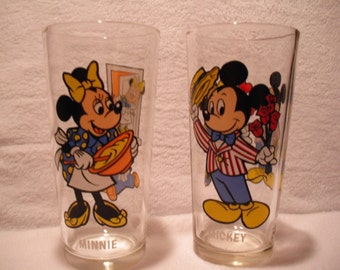 Mickey and Minnie Mouse, Happy Birthday Mickey Series Beverage Glasses, 1978