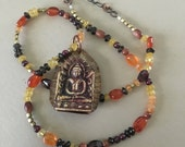 RESERVED for Daniele Young BUDDHA citrine mixed media necklace