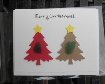 Christmas Tree Card Lake Erie Beach Glass