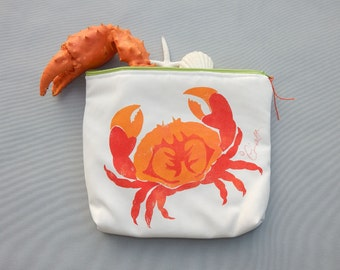 "EVERYTHING BAG Crab zippered case tablet cosmetic makeup 9""x12""x2.5"" travel pouch toiletry purse organizer painted lined washable clutch"