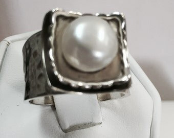 Silpada Heavy Sterling Silver Pearl Ring Vintage Size 7