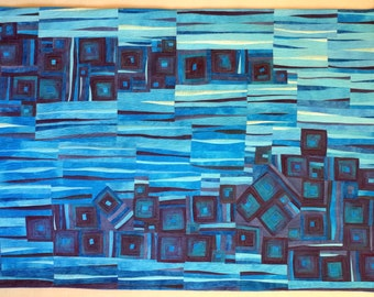 Art quilt, abstract quilt, wall hanging- Mineral Spring