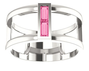 AA Pink Tourmaline Double Baguette Band Ring, Negative Space Ring, October Birthstone Ring