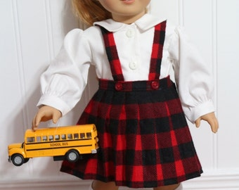 "BACK TO SCHOOL Blouse and Skirt fits 18"" soft-bodied dolls - Proudly Made in America"