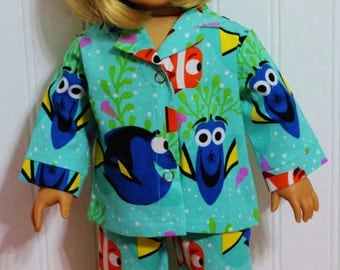 FINDING DORY Doll Clothes Pajamas fit 18inch Dolls - Proudly Made in America by mamastwinsees