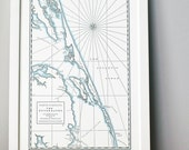 Outer Banks, Letterpress Map Print (Dark Grey)
