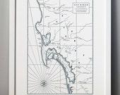 Historic San Diego, Letterpress Map Art Print (Dark Grey)