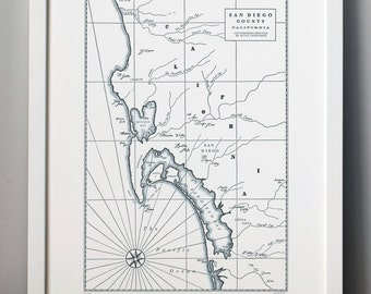 Historic San Diego, Letterpress Map Art Print (Dark Grey)