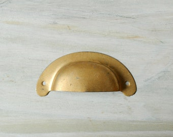 Vintage Cup Drawer Pull, Metal Drawer Handle
