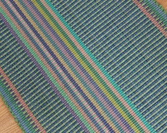 Handwoven Rag Rug Runner /  2 x 6 Cotton Rug in Green and Blue