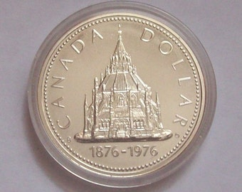 1976 Library of Parliament Canada Silver Dollar