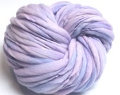 Super bulky hand spun lavender yarn in thick and thin hand dyed merino wool - 55 yards, 3.5 ounces/ 100 grams