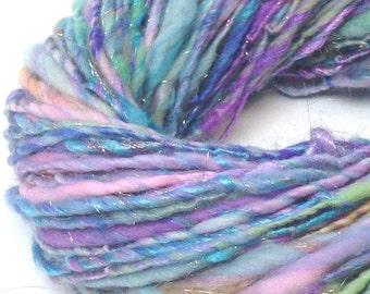Sparkly handspun yarn, 60 yards, 1.9 ounces / 54 grams, handspun in merino, silk, Firestar and sparkly champagne Angelina