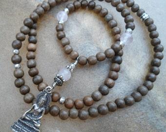 Rose Quartz Grey Wood Mala Beads Buddha Pendant 108 Bead Mala Necklace Buddhist Gift Yoga Necklace Natural Wood Thai Buddha Zen Gift Unique