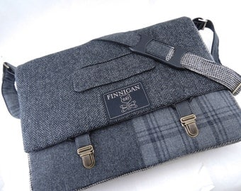 "Messenger Bag, Mens 15"" Womens laptop Messenger Bag , 15""  Macbook Pro Laptop Sleeve, tote bag, Suit coat Upcycled bag"