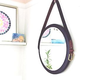 "One of a Kind. Handmade. 16"" Round Mirror. Black or Gray Belt Mirrors. Danish Mirror. Captain's Mirror. 16"" x 16"". Home Decor."