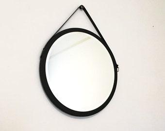 """Black 24"""" Round Mirror Belt Mirror. Mid-century Modern Mirror. Danish Mirror. Vintage Leather Belt Mirror Housewarming Gift"""