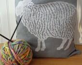 Hand Dyed Knitting Project Bag, Sheep Design,  Organic Linen Drawstring Bag, Cloth Gift Bag , Produce Bag , Screen Printed Bag