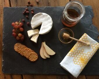 Linen Dinner Napkins - Organic Linen - Honeycomb design -Set of Four Cloth Napkins - Hostess Gift