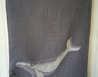 Gray Hand Dyed Tea Towel - Organic Linen Kitchen Towel -  Whale Design -Screen Printed Dish Towel