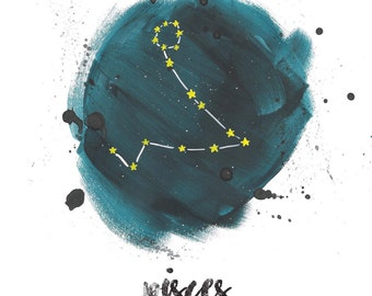 Pisces Zodiac Star Sign Instant Download, Constellation Art