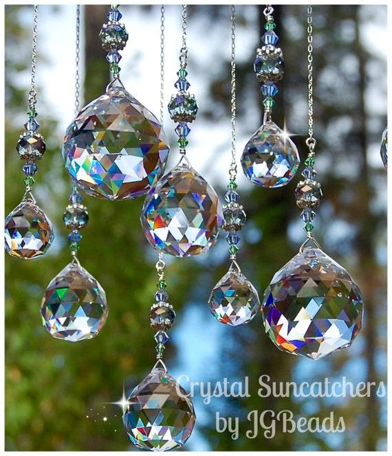 Hanging Crystal Suncatcher Peridot Lavender Gray Home Decor