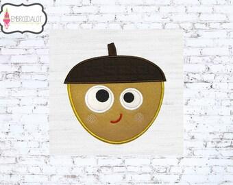 Lil acorn applique embroidery design. Cute acorn embroidery design. Thanksgiving applique, embroidery download, cute thanksgiving embroidery